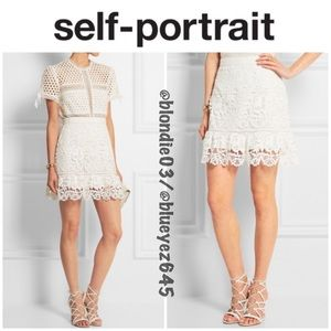 Self-Portrait white guipure lace mini skirt 4